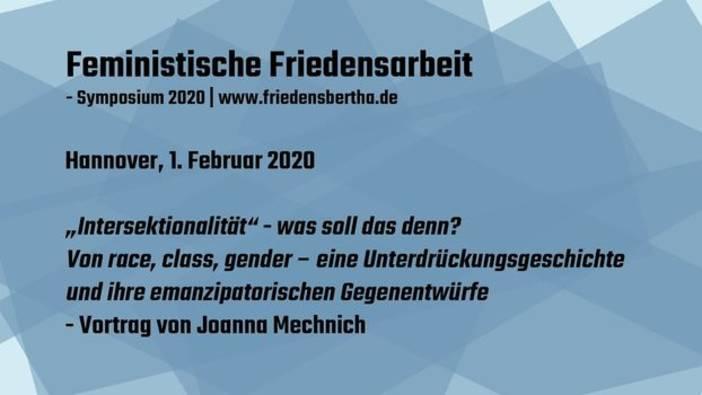 """Videodokumentation des Symposiums """"Feministische Friedensarbeit"""" vom Februar 2020"""