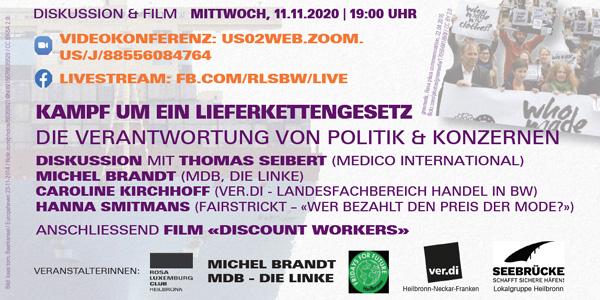 Online-Diskussion & Film: «Der Kampf um ein Lieferkettengesetz»